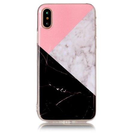 Marmer Design TPU Hoesje iPhone X - Zwart / Wit / Roze