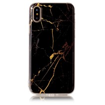 Marmer Design TPU Hoesje iPhone X - Zwart / Goud