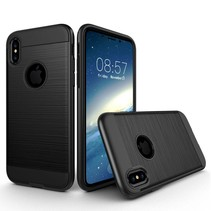 2-in-1 Brushed Hardcase + TPU Hoesje iPhone X - Zwart