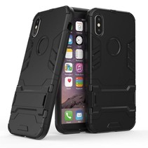 TPU Backcover met Kickstand Hoesje iPhone X - Zwart