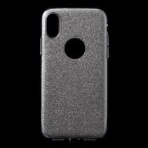 Hardcase / TPU Combo Glitter Hoesje iPhone X - Zilver