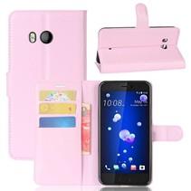 Litchee Booktype Hoesje HTC U11 - Roze