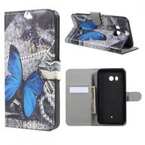 Booktype Hoesje HTC U11 - Blauwe Vlinder