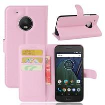 Litchee Booktype Hoesje Motorola Moto G5 Plus - Roze