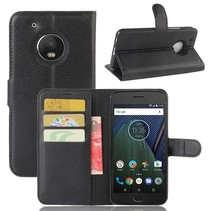 Litchee Booktype Hoesje Motorola Moto G5 Plus - Zwart