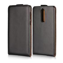 Genuine Leder Flipcase Hoesje Nokia 8 - Zwart