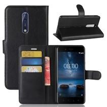 Litchee Booktype Hoesje Nokia 8 - Zwart