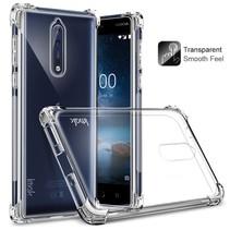 TPU Hoesje + Harde Screenprotector Nokia 8 - Transparant