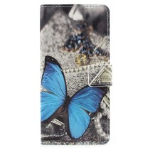 Booktype Hoesje Samsung Galaxy A8 (2018) - Blauwe Vlinder