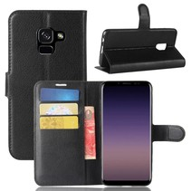 Litchee Booktype Hoesje Samsung Galaxy A8 (2018) - Zwart