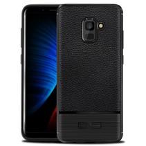Litchee TPU Hoesje Samsung Galaxy A8 (2018) - Zwart
