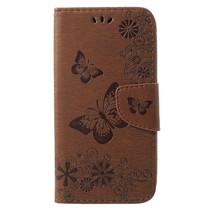 Vlinders Booktype Hoesje iPhone Xr - Bruin