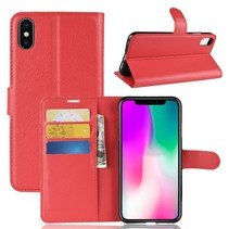 Litchee Booktype Hoesje iPhone Xr - Rood