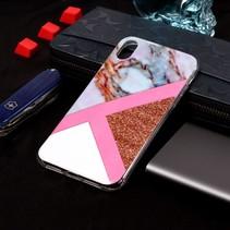 Marmer TPU Hoesje iPhone Xr - Roze Goud