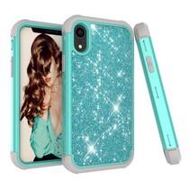 Glitters Hybrid Hoesje iPhone Xr - Grijs / Cyaan