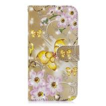 Bloemen en Gouden Vlinder Booktype Hoesje iPhone Xr
