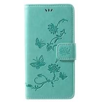 Bloemen Booktype Hoesje iPhone XS - Groen
