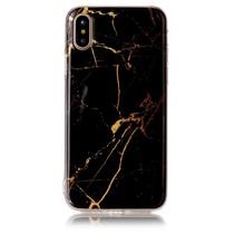 Imd Marmer TPU Hoesje iPhone XS - Zwart / Goud