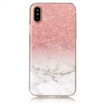 Marmer TPU Hoesje iPhone XS - Roze / Wit