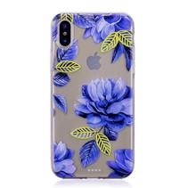 Blauwe Bloemen TPU Hoesje iPhone XS