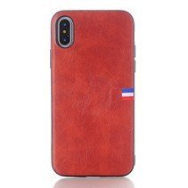 Lederen Backcover Hoesje iPhone XS - Rood