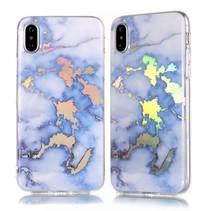Marmer TPU Hoesje iPhone XS - Blauw