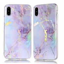 Marmer TPU Hoesje iPhone XS - Paars