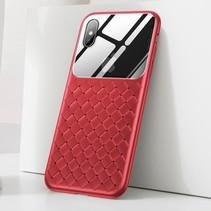 Baseus Gevlochten TPU Hoesje iPhone XS - Rood