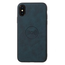 Lederen Backcover Hoesje iPhone XS - Donker Blauw