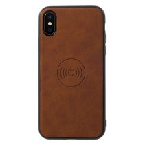 Lederen Backcover Hoesje iPhone XS - Bruin