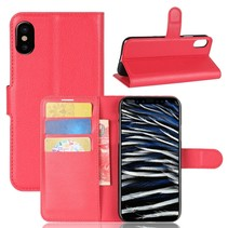 Litchee Booktype Hoesje iPhone XS - Rood