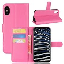 Litchee Booktype Hoesje iPhone XS - Roze