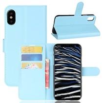 Litchee Booktype Hoesje iPhone XS - Blauw