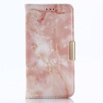 Marmer Booktype Hoesje iPhone XS - Roze