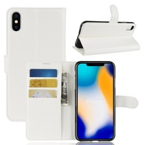 Litchee Booktype Hoesje iPhone XS Max - Wit