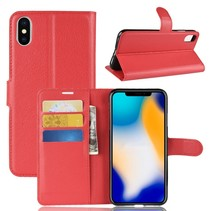 Litchee Booktype Hoesje iPhone XS Max - Rood