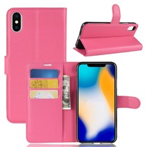 Litchee Booktype Hoesje iPhone XS Max - Roze