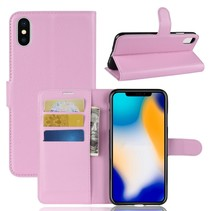Litchee Booktype Hoesje iPhone XS Max - Lichtroze