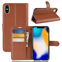 Litchee Booktype Hoesje iPhone XS Max - Bruin