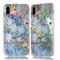 i Marmer TPU Hoesje iPhone XS Max - Donker Blauw