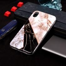 Marmer TPU Hoesje iPhone XS Max - Wit / Bruin