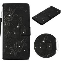Bloem en Vlinder Booktype Hoesje iPhone XS Max - Zwart