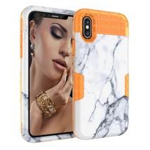 Marmer siliconen Hoesje iPhone XS Max - Oranje
