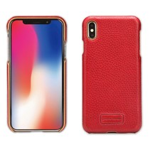 Pierre Cardin Litchee Lederen Backcover Hoesje iPhone XS Max - Rood