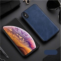 X-level Lederen Backcover Hoesje iPhone XS Max - Blauw