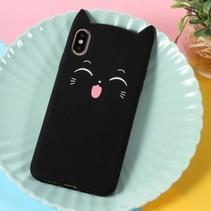 Kat siliconen Hoesje iPhone XS Max - Zwart