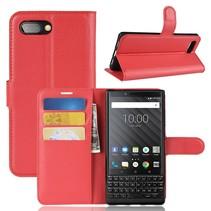 Litchee Booktype Hoesje Blackberry Key2 - Rood