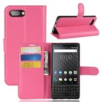 Litchee Booktype Hoesje Blackberry Key2 - Roze