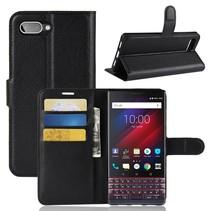 Litchee Booktype Hoesje Blackberry Key2 - Zwart
