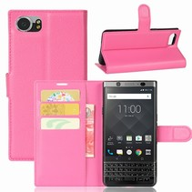 Litchee Booktype Hoesje Blackberry KeyOne - Roze